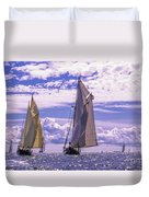 Racing On Open Waters Duvet Cover