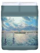 Racing Yachts Past Snapper Island Duvet Cover