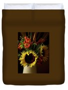 Radiant Sunflowers And Peruvian Lilies Duvet Cover