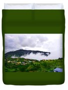 Raging Clouds On The Village Duvet Cover