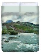 Raging Water Streams In The Hills Duvet Cover