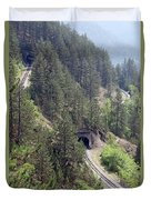 Railroad And Tunnels On Mountain Duvet Cover