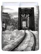 Railroad Bridge In Winter Duvet Cover