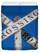 Railroad Crossing Wooden Sign Duvet Cover