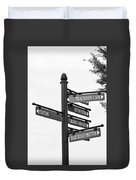 Railroad Directions_bw Duvet Cover