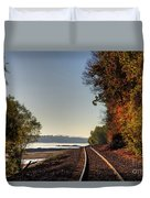 Railroad Track By The Mississippi  Duvet Cover