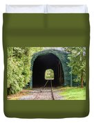The Railway Passing Through The Tunnel To Meet The Light Duvet Cover