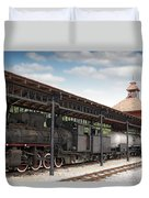 Railway Station With Old Steam Locomotive Duvet Cover