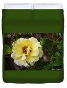 Rain Coated Yellow Rose Duvet Cover