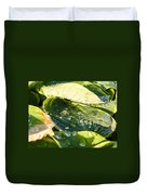 Rain Collecting On Hosta Leaves Duvet Cover