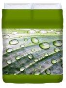 Rain Drops On A Leaf Duvet Cover