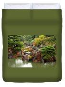 Rain On Kyoto Garden Duvet Cover