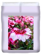 Rain Soaked Dianthus Duvet Cover