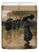 Rain Storm Union Square Duvet Cover by Childe Hassam