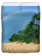 Rainbow At Pipeline, North Shore,  Duvet Cover