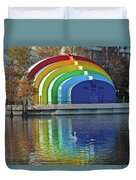 Rainbow Bandshell And Swan Duvet Cover