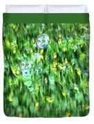 Rainbow Bubbles On The Grass Duvet Cover