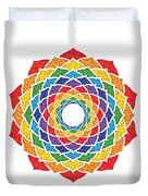 Rainbow - Crown Chakra - Pointillism Duvet Cover