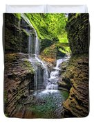 Rainbow Falls In Watkins Glen Duvet Cover