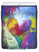 Rainbow Heart In The Cloud Acrylic Paintings Duvet Cover