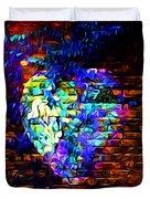 Rainbow Heart On A Wall Duvet Cover