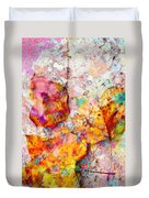 Rainbow Abstract Leaves Duvet Cover