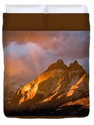 Rainbow Mountain In The Storm Duvet Cover