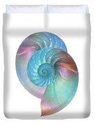 Rainbow Nautilus Pair On White Duvet Cover