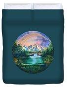 Rainbow In Mountains Duvet Cover