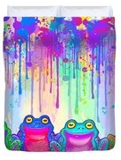 Rainbow Of Painted Frogs Duvet Cover