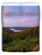 Rainbow Over Broken Bow Lake Duvet Cover