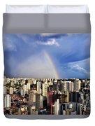 Rainbow Over City Skyline - Sao Paulo Duvet Cover