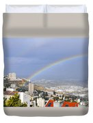 Rainbow Over Haifa, Israel  Duvet Cover