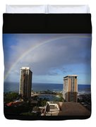 Rainbow Over Hilton Duvet Cover