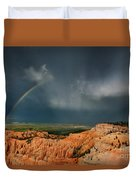 Rainbow Over Hoodoos Bryce Canyon National Park Utah Duvet Cover
