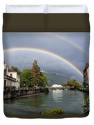 Rainbow Over Thiou River In Annecy Duvet Cover