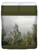 Rainbow Past The Treeline Duvet Cover