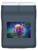 Rainbow Rose In The Rain Duvet Cover