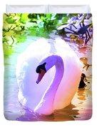 Rainbow Swan Duvet Cover