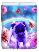 Rainbow Unicorn Pug In The Clouds In Space Duvet Cover