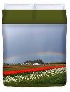 Rainbows At Tulip Festival Duvet Cover