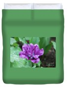 Raindrops Clinging To The Purple Petals Of A Tulip Duvet Cover