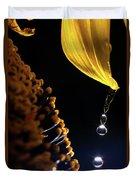 Raindrops From Sunflower Petal Duvet Cover