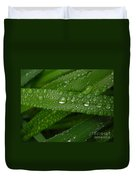 Raindrops On Green Leaves Duvet Cover