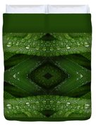 Raindrops On Green Leaves Collage Duvet Cover