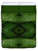 Raindrops On Green Leaves Collage Duvet Cover