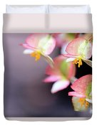 Raindrops On Rare Begoinia Blooms In Macro Duvet Cover