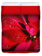 Raindrops On Red Poinsettia Duvet Cover