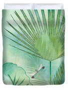 Rainforest Tropical - Elephant Ear And Fan Palm Leaves W Botanical Dragonfly Duvet Cover