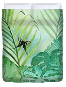 Rainforest Tropical - Philodendron Elephant Ear And Palm Leaves W Botanical Butterfly Duvet Cover